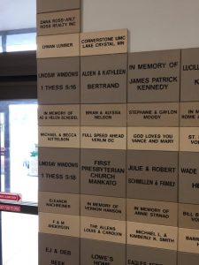Mankato ReStore wall of donors photo